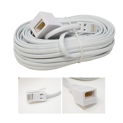 Telephone Extension Cable / BT Plug to Socket/Phone Line Modem Landline / White