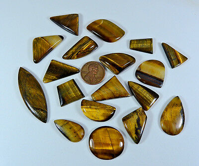 Natural Golden Tiger eye Cabochon Gemstone Lot 18pcs. Mix 277cts.;#99558