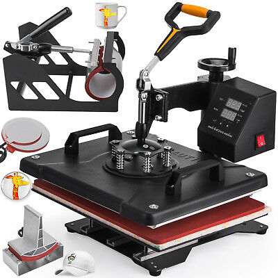"5in1 Heat Press Machine For T-Shirts 12""x15"" Combo Kit Sublimation Swing away"