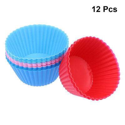 12*Round Silicone Reusable Baking Cake Molds Mould Cupcake Maker Muffin Cup