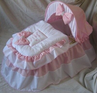 Twinkle Star Pink And White Moses Basket Cover Set By Babyfanzone