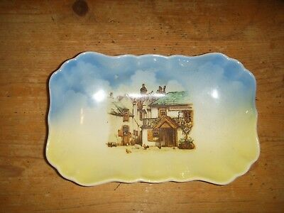 Vintage Sandland Ware Blue and Yellow Soap Dish Village Scene
