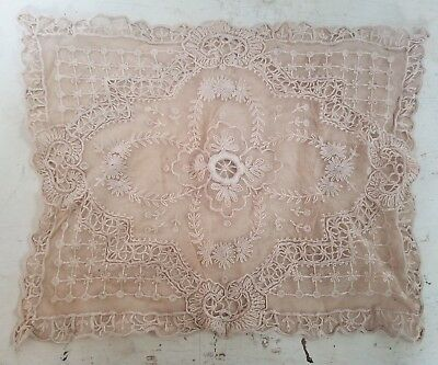 Beautiful Antique Bobbin & Needle Lace Ornate Floral Pillow Cover Wedding Decor