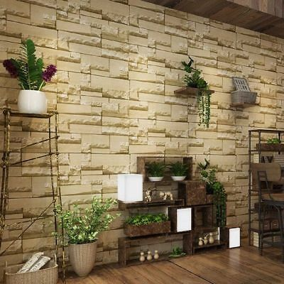 10m Wallpaper Modern 3D Brick Stone Bedroom Mural Roll Wall Background Vintage