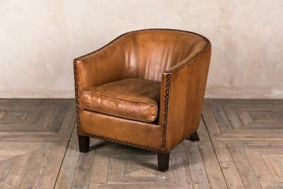 Leather Tub Armchair Brass Studded Bucket Chair Upholstered Tan Leather Chair