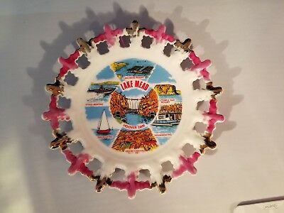 Vintage Souvenir Plate LAKE MEAD Temple Bar Sailing Etc