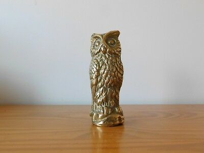 c.19th - Antique French Solid Brass Owl Figure