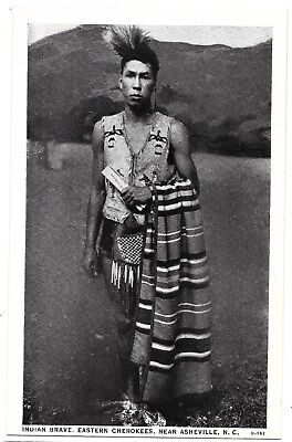 Photo Postcard Native American Indian Brave Eastern Cherokee's Nc