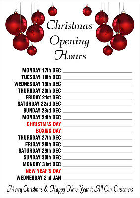 CHRISTMAS XMAS OPENING HOURS POSTERS -  many sizes to choose