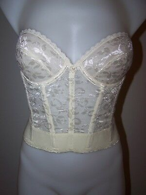 Vintage David's Bridal Ivory Lace Underwire Bra Bustier 36B Style 213 Sissy