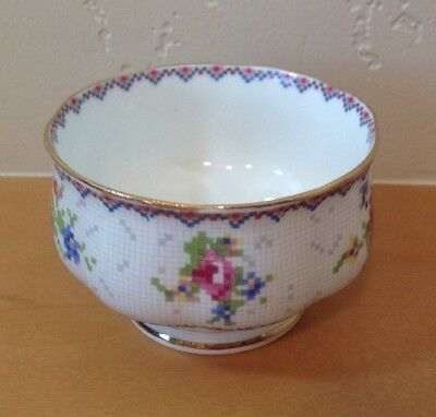 Royal Albert Petit Point Mini Open Sugar Bowl Needlepoint Design Floral England