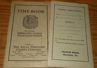 1920's Weekly Time Sheets/Time Book/Atlas Portland Cement Co.~Honesdale, Pa.