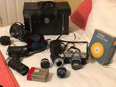 Minolta SRT-101 SLR 35mm Film CLC Camera with 5 Lens, Case Vintage, 2 lighting