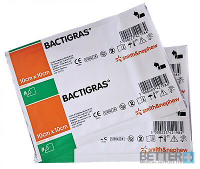 BACTIGRAS DRESSING | PACK OF 10 | 10cm x 10cm | REDUCES INFECTION & INFLAMMATION