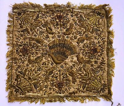 19c ultra Antique Embroidery Ottoman Tughra Metallic Thread Turkish Tinsel Cloth