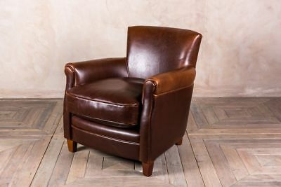 Vintage Style Leather Armchair Upholstered Deep Tan Leather Chair