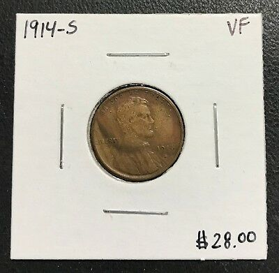 1914-S U.s. Lincoln Wheat Penny Cent ~ Vf Condition! $2.95 Max Shipping! C120