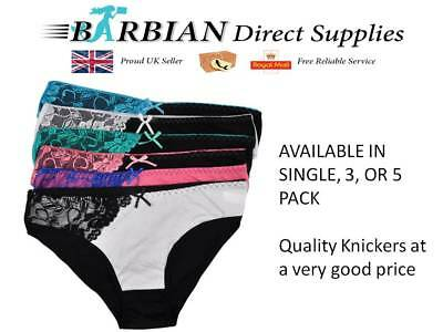 Womens Underwear Cotton Sexy Lace Everyday Briefs Ladies Knickers Multi pack