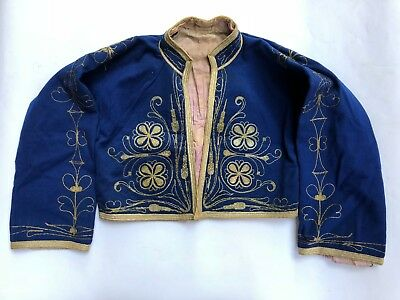 19c Vest Antique Embroidery Ottoman Tughra Gold Thread Turkish Tinsel Clothes
