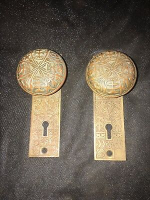 Antique Pair Of Solid Brass Lockwood Door Knobs And Backplates #3