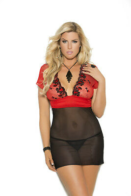 Embroidered Mesh Babydoll & G-String Adult Woman Plus Size 2X Lingerie