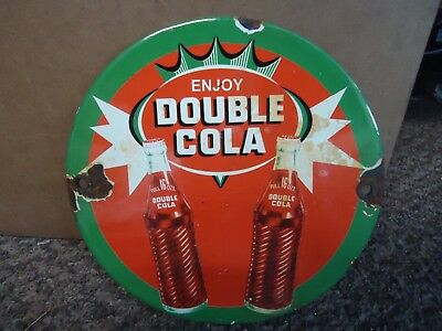 Old Vintage Enjoy Double Cola Porcelain Wood Door Push Sign