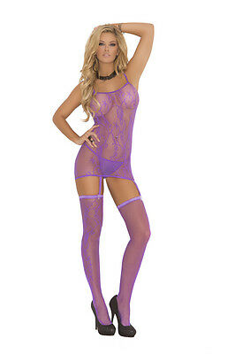 Floral pattern fishnet camisette, g-string & stockings! Adult Woman Clothing