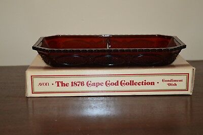 Avon 1876 Cape Cod Ruby Red Condiment Dish