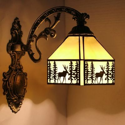 Vintage Tiffany Wall Lights Metal Stained Glass Elk Xmas Wall Lamp Fixture