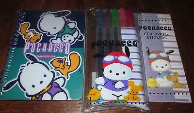 Pochacco Highlighter Pen Notebook Coloring Stickers Set Vintage 1997 Samrio