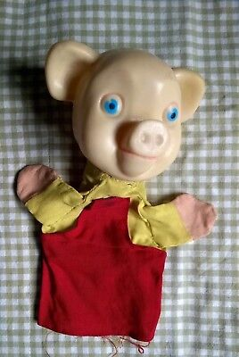 Vintage Chad Valley Pinky and Perky Hand Puppet Vinyl Head 1960s 70s