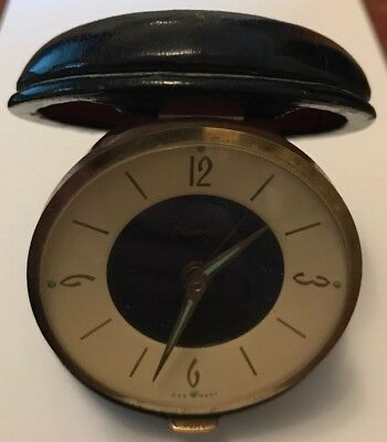 Nice Vintage Blessing German-made Retro Travel Alarm Clock, Wind Up Leather Case