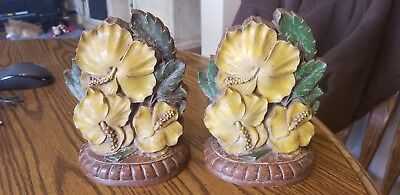 Vintage Flower Bookends 1940's 50's Nice