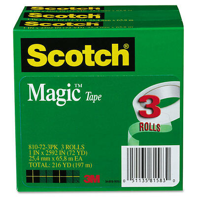 "Scotch Magic Tape 1"" x 2592"" 3"" Core 3/Pack 810723PK"