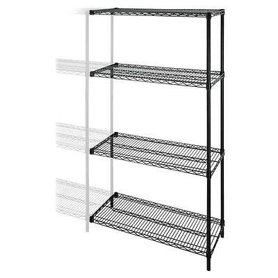 """Lorell Add-On Wire Shelving 4 Shelves/2 Posts 36""""x24""""x72"""" BK 69142"""