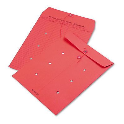 Quality Park Colored Paper String & Button Interoffice Envelope 10 x 13 Red 100