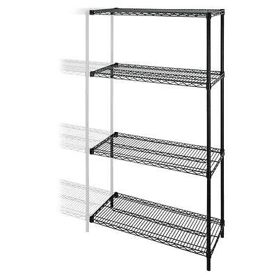"""Lorell Add-On Wire Shelving,4Shelves/2Posts,48""""x18""""x72"""",BK 69138"""