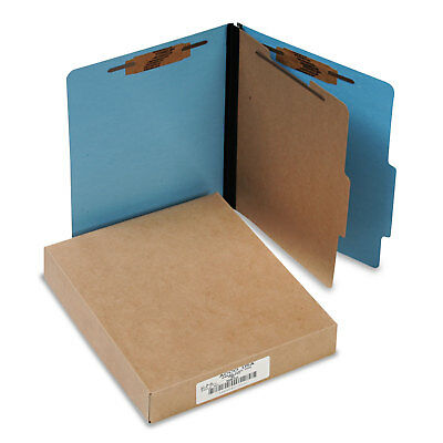 Acco ColorLife PRESSTEX Classification Folders Letter 4-Section Light Blue 10