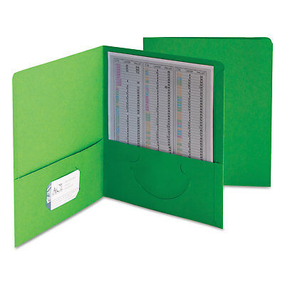 Smead Two-Pocket Folder Textured Paper Green 25/Box 87855