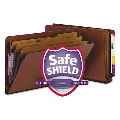 Smead Pressboard End Tab Classification Folder Legal Eight-Section Red 10/Box