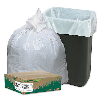 Earthsense Recycled Tall Kitchen Bags 13-16gal .8mil 24 x 33 White 150 Bags/Box