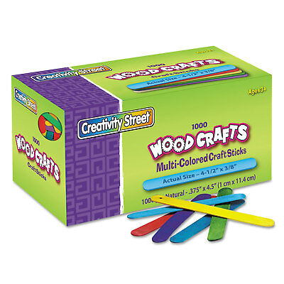 Chenille Kraft Colored Wood Craft Sticks 4 1/2 x 3/8 Wood Assorted 1000/Box