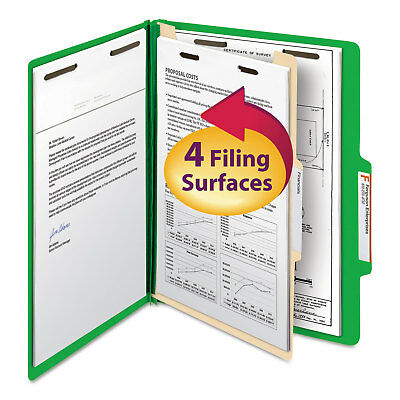 Smead Top Tab Classification Folder One Divider Four-Section Letter Green 10/Box