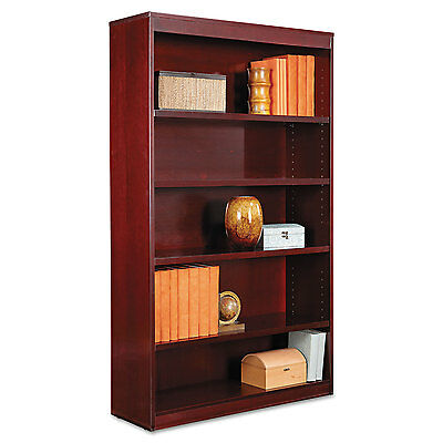 Alera Square Corner Wood Veneer Bookcase, Five-Shelf, 35-5/8 x 11-3/4 x 60,