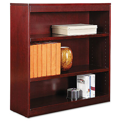 Alera Square Corner Wood Veneer Bookcase, Three-Shelf, 35-5/8 x 11-3/4 x 36,