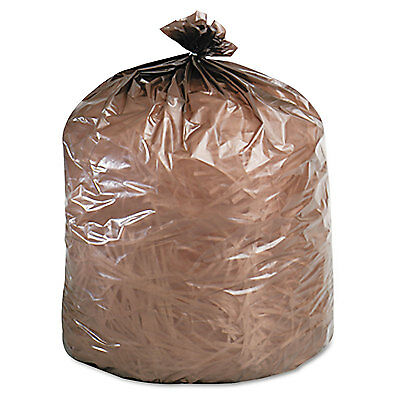 Stout Eco-Degradable Plastic Trash Garbage Bag 39gal 1.1mil 33 x 44 Brown 40/Box