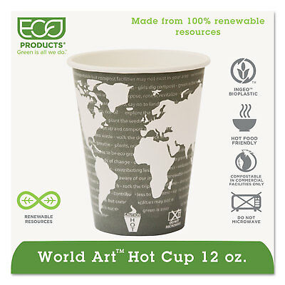 Eco-Products World Art Renewable Compostable Hot Cups 12 oz. 50/PK 20 PK/CT