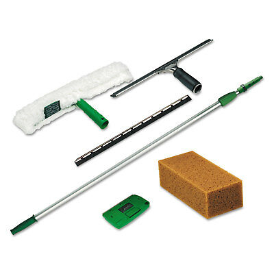 Unger Pro Window Cleaning Kit w/8ft Pole Scrubber Squeegee Scraper Sponge PWK00