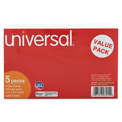 UNIVERSAL Ruled Index Cards 5 x 8 White 500/Pack 47255