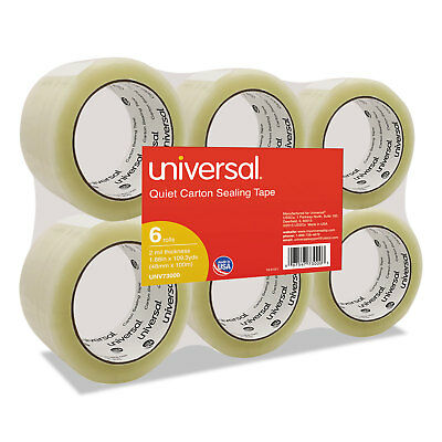 """Universal Quiet Tape Box Sealing Tape 48mm x 100m 3"""" Core Clear 6/Pack 73000"""
